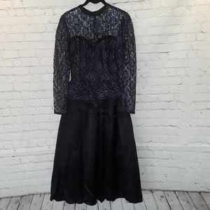 Gunne Sax satin & lace tea length dress size 7